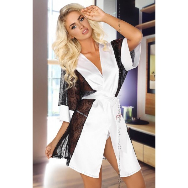 Stephanie Dressing Gown (Black and White)